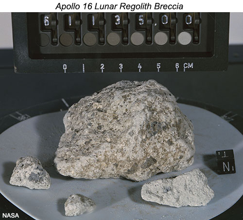 Lab photo of Apollo 16 lunar sample 61135, a regolith breccia.