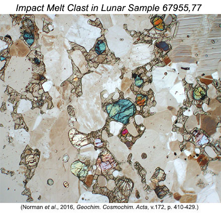 Thin section image (1 millimeter across) in partially crossed polarized light of the cumulate impact melt clast in lunar sample 67955.