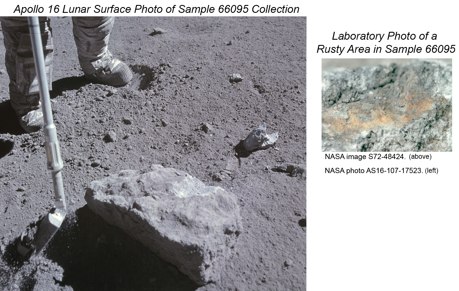Apollo 16 sample 66095 shown at collection site on the Moon and in a close-up laboratory photo.