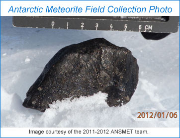 Field photo of a meteorite just prior to collection by the ANSMET 2011-2012 team. Photo courtesy of ANSMET 2011-2012.
