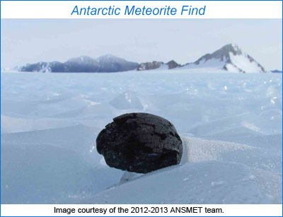 Photo of meteorite found by ANSMET 2012-2013.