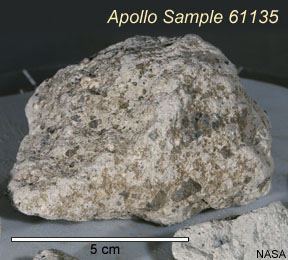 Apollo 16 regolith breccia 61135 contains impactor relic fragments studied by Joy and colleagues.