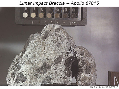 NASA photo of Apollo 16 sample 67015, a lunar impact breccia.