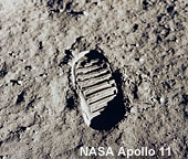 Image of Buzz Aldrin's bootprint in the lunar regolith during the Apollo 11 mission. Neil Armstrong and Buzz Aldrin walked on the Moon on July 20, 1969.