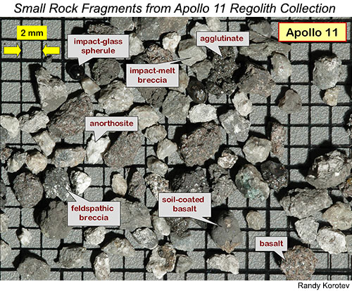 Apollo 11 regolith in the 2-4 mm grain sizes. Photo by Randy Korotev.