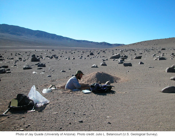 Photo by Julio Betancourt (USGS) of Jay Quade (Univ. of Arizona) working in the Atacama desert of Chile.