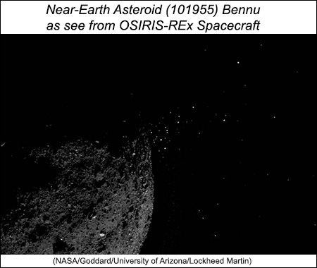 Bennu images show particles ejected from asteroid.