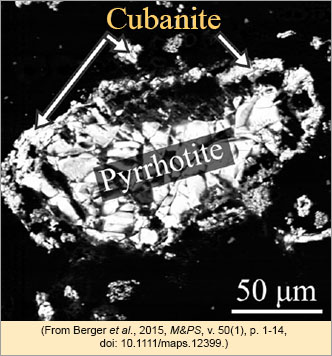 Sulfide mineral assemblage from experiments by Berger et al., M&PS, 2015.