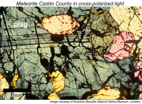 Photomicrograph of a polished thin section of Caddo County in cross-polarized light.