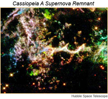 Hubble Space Telescope image of supernova remnant Cassiopeia A.