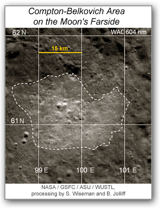 Portion of a WAC image with dashed line outlining the high-reflectance terrain (non-mare volcanic rocks) in Compton-Belkovich area on the Moon.