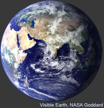 Earth image from Visible Earth, NASA Goddard Space Flight Center. Click for more information.