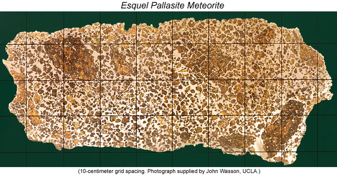 Color photo of 92-cm-long slab of the Esquel pallasite meteorite. Photograph supplied by John Wasson, UCLA.