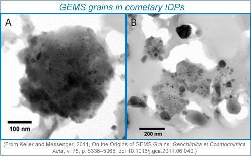 Two bright-field transmission electron microscope images of GEMS grains in cometary interplanetary dust particles.