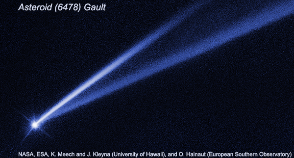 Asteroid (6478) Gault with transient dust tails.