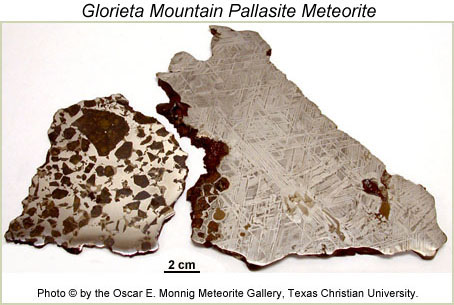 Photograph of Glorieta Mountain pallasite. Oscar E. Monnig Meteorite Gallery.