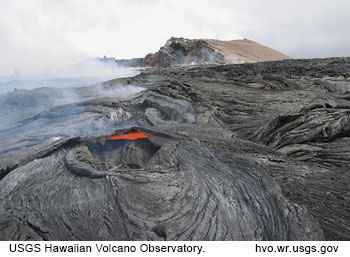 Photograph of active volcanic eruption on Kilauea volcano with gas plumes. Click for more information from source page at USGS Hawaiian Volcano Observatory.