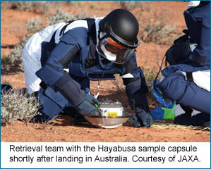 Picture of the retrieval team at the Hayabusa sample capsule after it landed in the Australian outback in June, 2010. Provided by Japan Aerospace Exploration Agency (JAXA).
