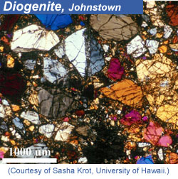 Thin section of Johnstown meteorite. Click for more information.