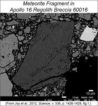 Backscattered electron image of meteorite fragment in a thin section from Apollo 16 sample 60016,83. The fragment is in the center of the image and is surrounded by regolith breccia matrix. Scale bar is 10 micrometers.
