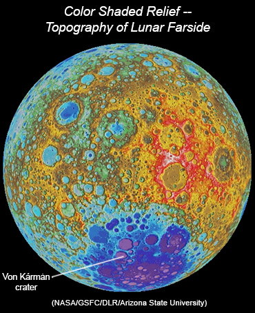 LROC WAC color shaded relief map showing elevations (in different colors) on the lunar farside. The deep South Pole-Aitken basin appears in shades of blues and purples. Click for more information.