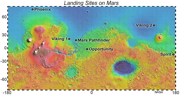 Mars map showing landing sites of NASA missions.