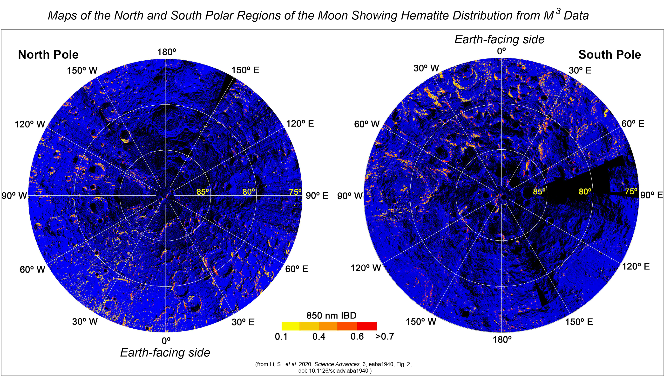 Maps of the North and South polar regions of the Moon showing hematite distribution with IBD values determined by Li and colleagues from M3 data.