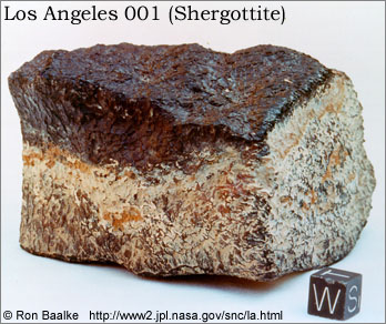 Sample of Martian meteorite Los Angeles 001 (shergottite). Photo by Ron Baalke. Click for more information and photos.