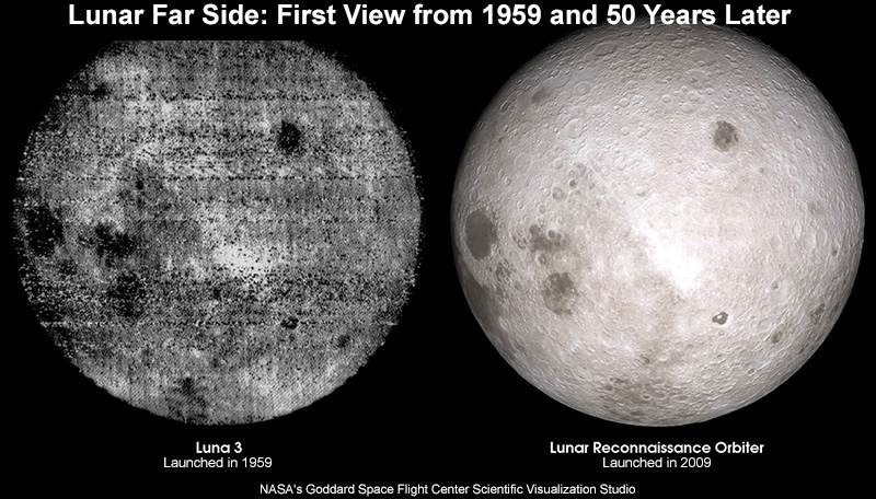 Comparison of lunar farside from the first image in 1959 with 2009 LRO image.