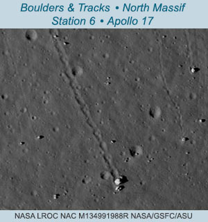 LROC NAC image showing boulder tracks and boulders at Apollo 17, Station 6. Click for high-resolution versions of this and more images from ASU.