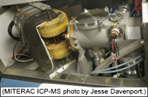 Main body of the ICP-MS with the magnet and other instrumentation used for detection.