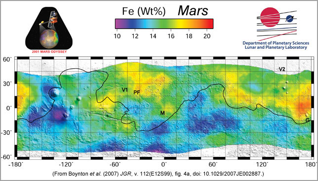 Map of iron concentrations in mid-latitude region of Mars from Odyssey-GRS data.