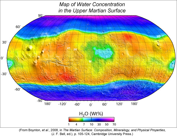 Map of water concentration in the upper few tens of centimeters of the martian surface, as measured from orbit by the Mars Odyssey Gamma Ray Spectrometer.