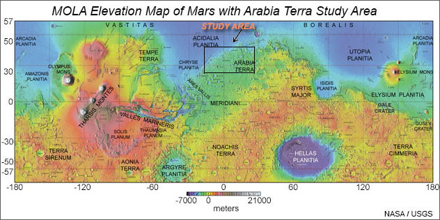 Elevation map of Mars based on data from the Mars Orbiter Laser Altimeter on NASA's Mars Global Surveyor spacecraft. Study area in northern Arabia Terra is outlined. Click for high resolution version from USGS.