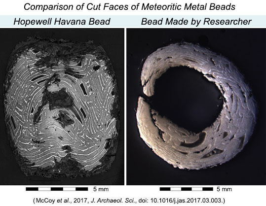 Comparison of cut faces of iron meteorite beads.