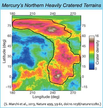 Crater areal density map in the northern heavily cratered terrains of Mercury by Marchi et al. 2013, Nature, v. 499, p. 59, doi:10.1038/nature12280.