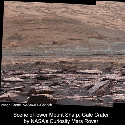 Scene from the Mast Camera (Mastcam) on NASA's Curiosity Mars rover shows purple-hued rocks near the rover's late-2016 location on lower Mount Sharp.