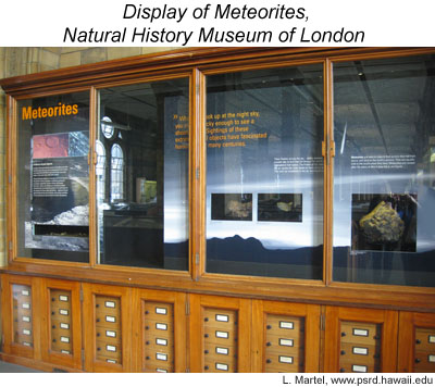 Photo of one of the public displays of meteorites at the NHM, London.