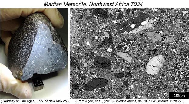 Photo of gloved hand holding piece of NWA 7034 next to backscatter electron image of the rock.