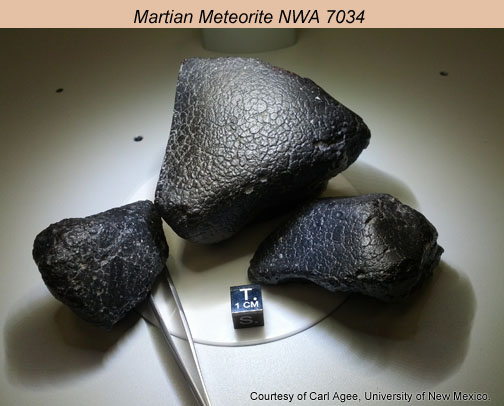 Three pieces of Martian meteorite, NWA 7034. Courtesy of Dr. Carl Agee, University of New Mexico.