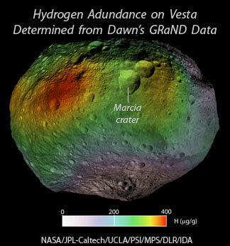Map of Hydrogen abundance on Vesta as determined by Dawn's GRaND data collected from December 2011 to May 2012 while in the lowest mapping orbit. Click for more information.