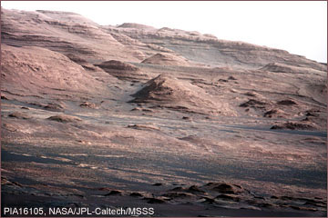 Image from the Mast Camera on NASA's Curiosity rover of layered rock at the base of Mount Sharp, Mars. Image PIA16105, NASA/JPL-Caltech/MSSS. Click for more information.