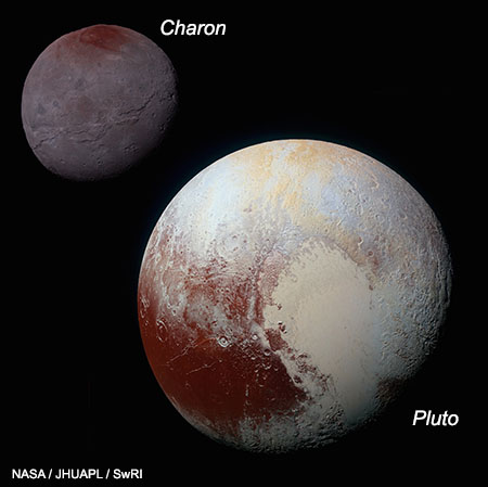 NASA's New Horizons spacecraft provided these enhanced-color images of Pluto and Charon.