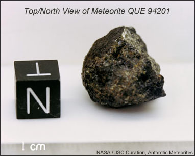 Picture of Shergotty meteorite on display at the Natural History Museum in Vienna, Austria.