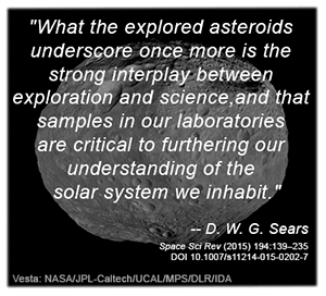 Quote from Dr. Derek Sears on image mosaic of asteroid Vesta from NASA's Dawn mission.