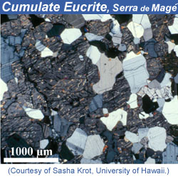 Thin section of Serra de Mage meteorite. Click for more information.
