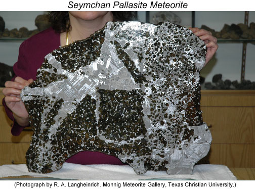 Photo of a polished and etched slide of the Seymchan pallasite meteorite.