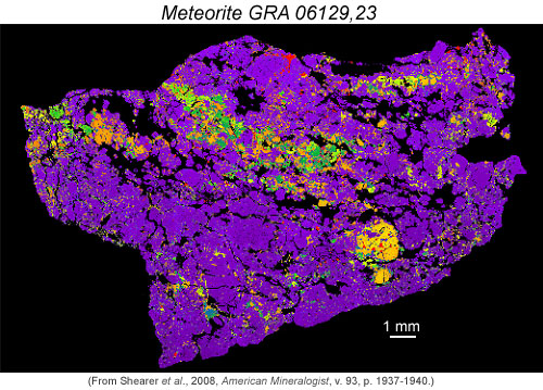 Back-scattered electron image in false color of GRA 06129