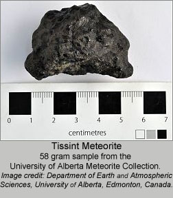 A 58 gram sample of Tissint shergottite meteorite from the University of Alberta Meteorite Collection. Image credit: Department of Earth and Atmospheric Sciences, University of Alberta, Edmonton, Canada.