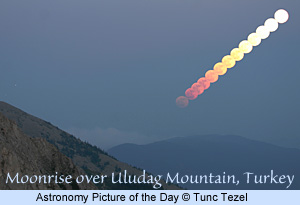 Moonrise over Uludag Mtn., Turkey. Astronomy Picture of the Day, copyright by Tunc Tezel. Click for more information.